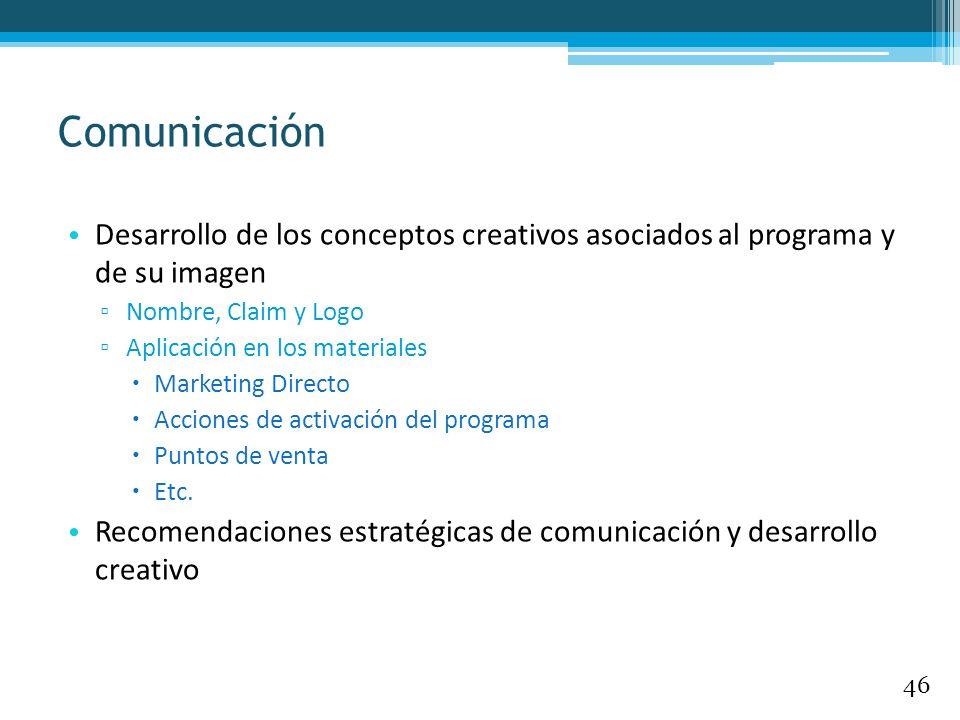 Comunicación Desarrollo de los conceptos creativos asociados al programa y de su imagen. Nombre, Claim y Logo.