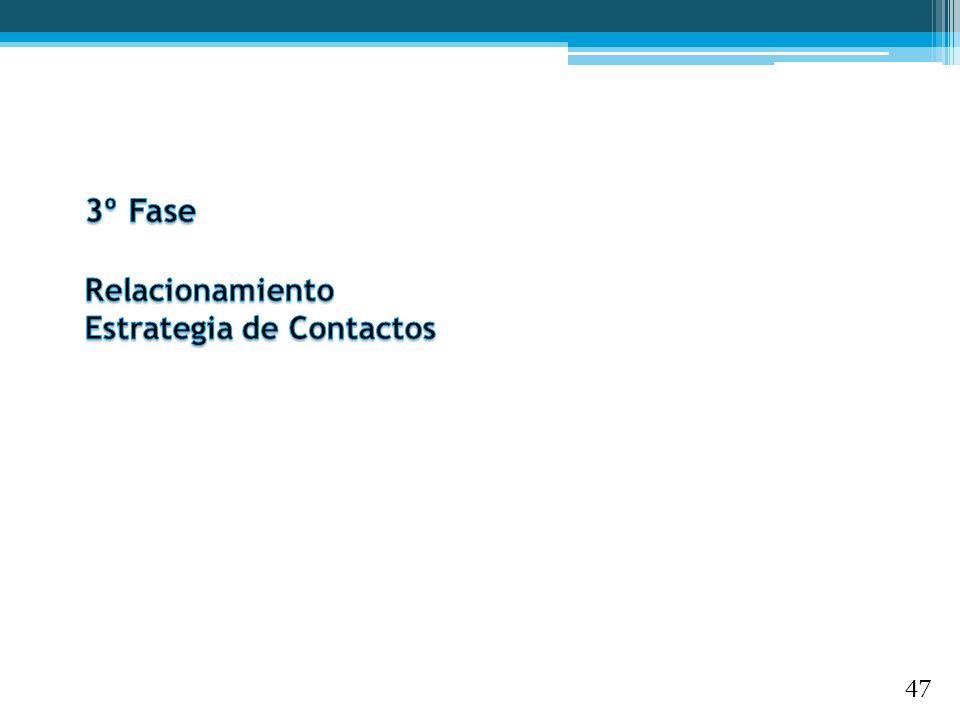 3º Fase Relacionamiento Estrategia de Contactos