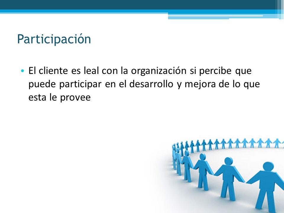 Participación El cliente es leal con la organización si percibe que puede participar en el desarrollo y mejora de lo que esta le provee.