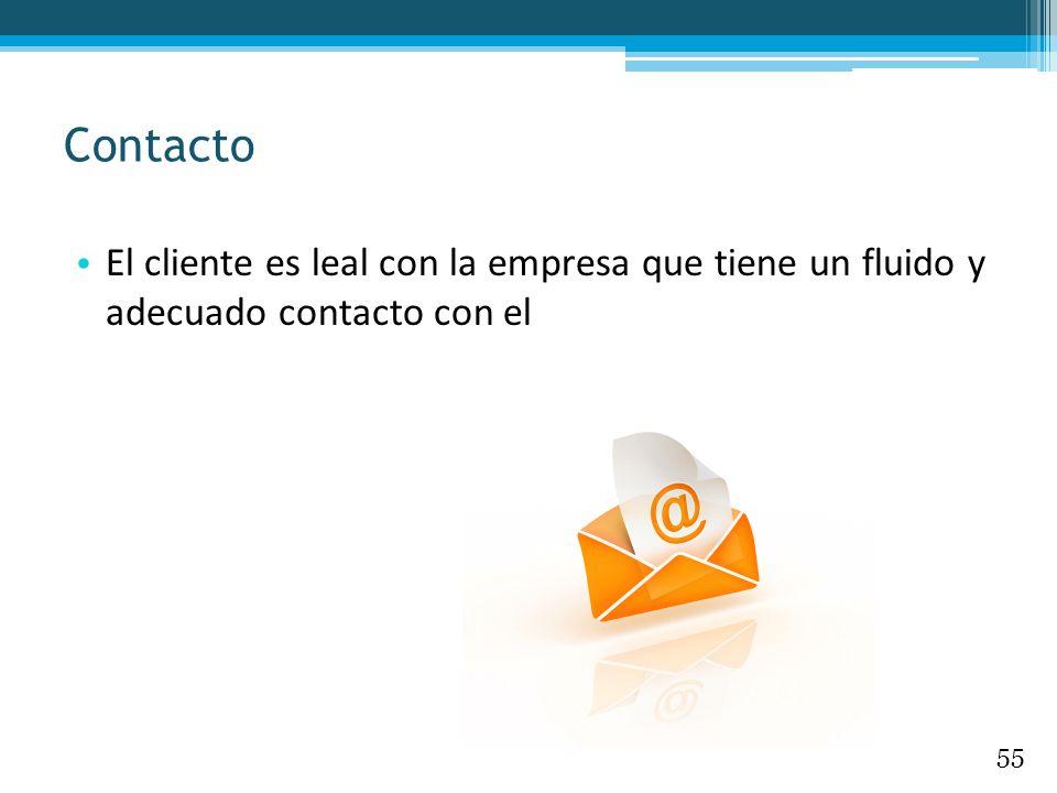 Contacto El cliente es leal con la empresa que tiene un fluido y adecuado contacto con el