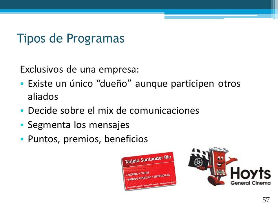 Tipos de Programas Exclusivos de una empresa: