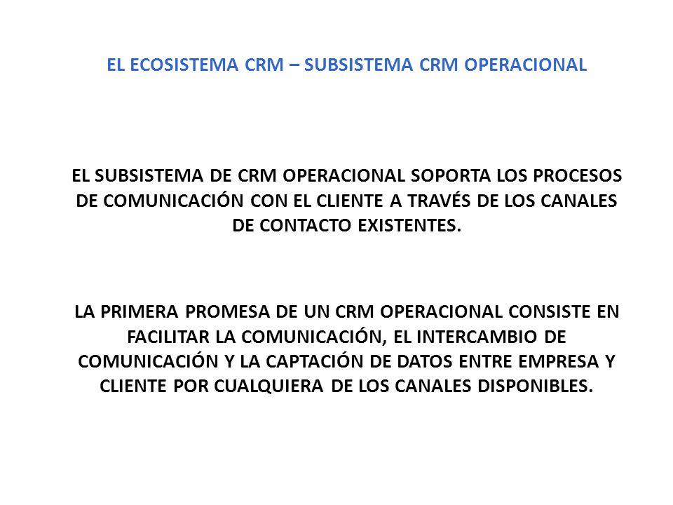 EL ECOSISTEMA CRM – SUBSISTEMA CRM OPERACIONAL