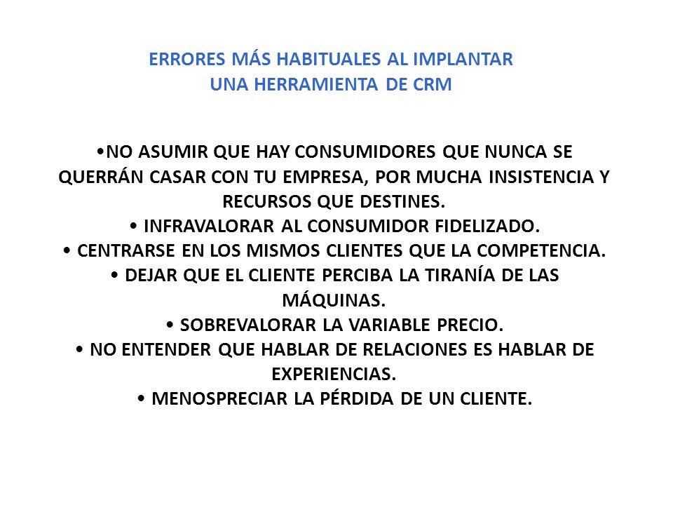 ERRORES MÁS HABITUALES AL IMPLANTAR UNA HERRAMIENTA DE CRM
