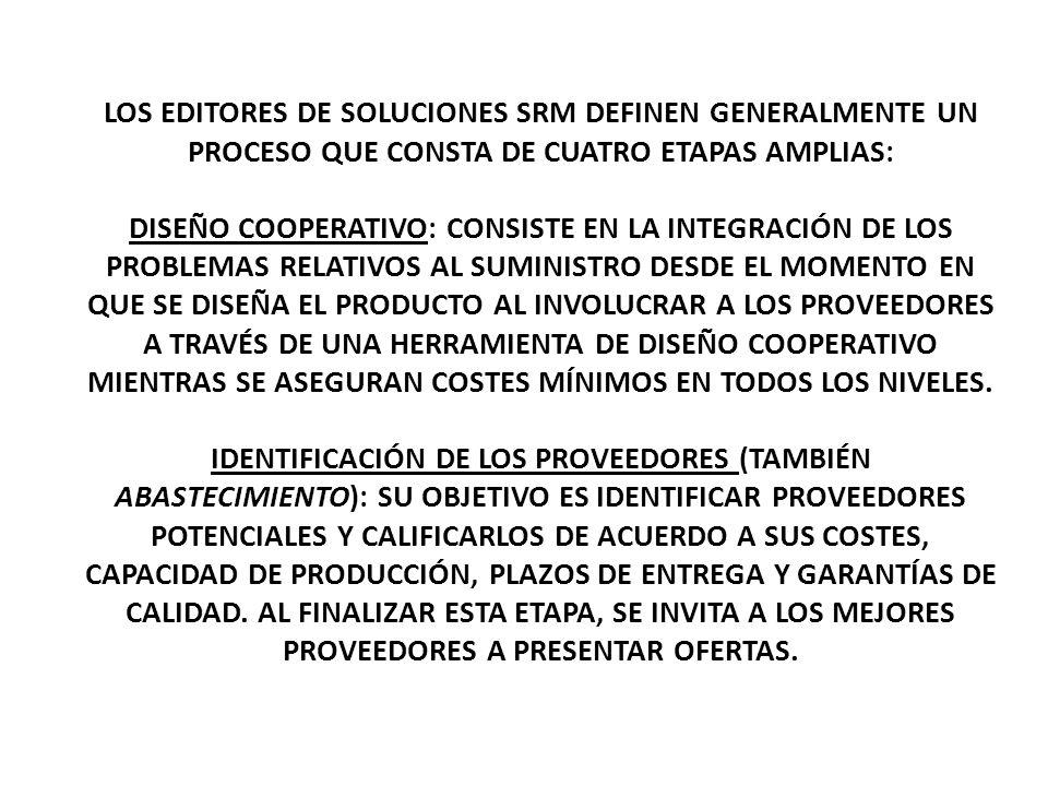 LOS EDITORES DE SOLUCIONES SRM DEFINEN GENERALMENTE UN PROCESO QUE CONSTA DE CUATRO ETAPAS AMPLIAS: