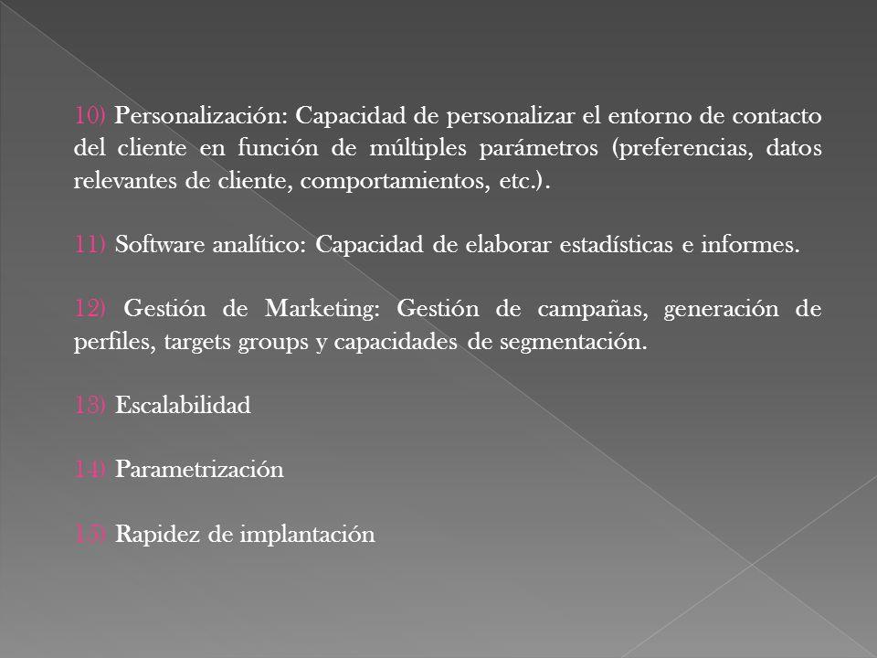 10) Personalización: Capacidad de personalizar el entorno de contacto del cliente en función de múltiples parámetros (preferencias, datos relevantes de cliente, comportamientos, etc.).