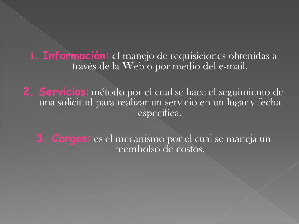 Información: el manejo de requisiciones obtenidas a través de la Web o por medio del e-mail.