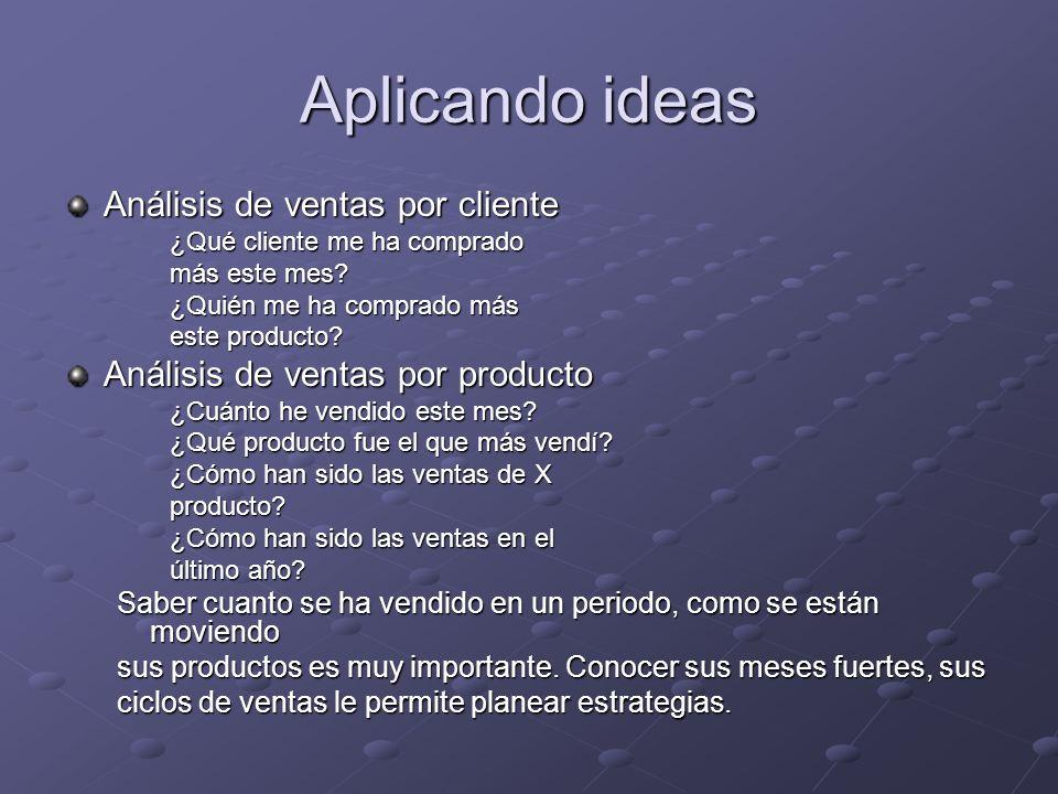 Aplicando ideas Análisis de ventas por cliente