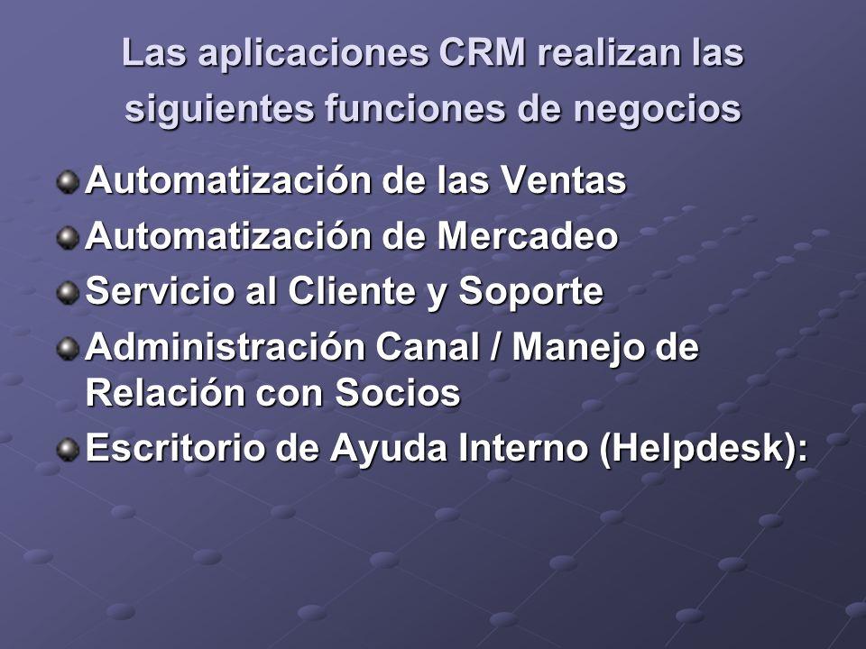 Las aplicaciones CRM realizan las siguientes funciones de negocios