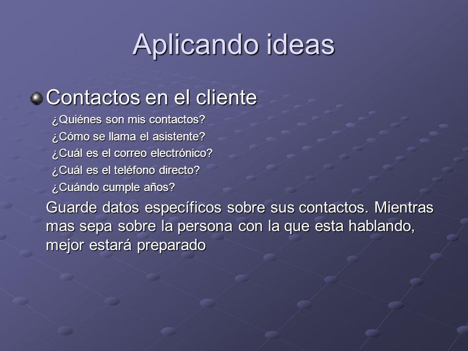 Aplicando ideas Contactos en el cliente