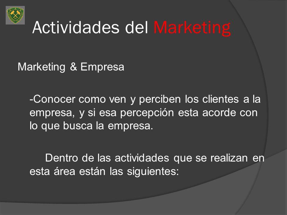 Actividades del Marketing