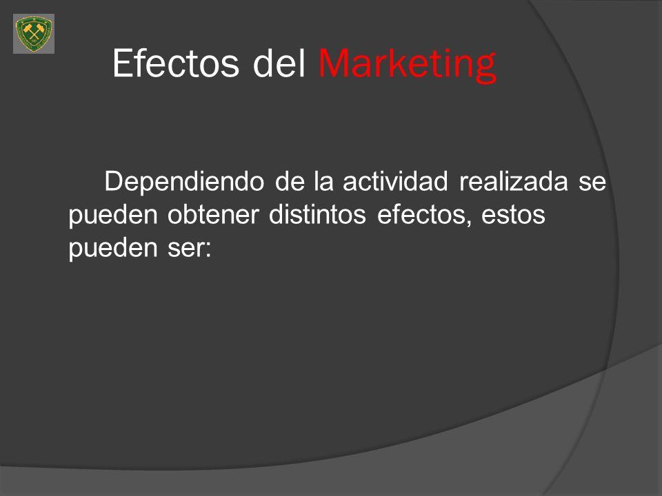 Efectos del Marketing Dependiendo de la actividad realizada se pueden obtener distintos efectos, estos pueden ser: