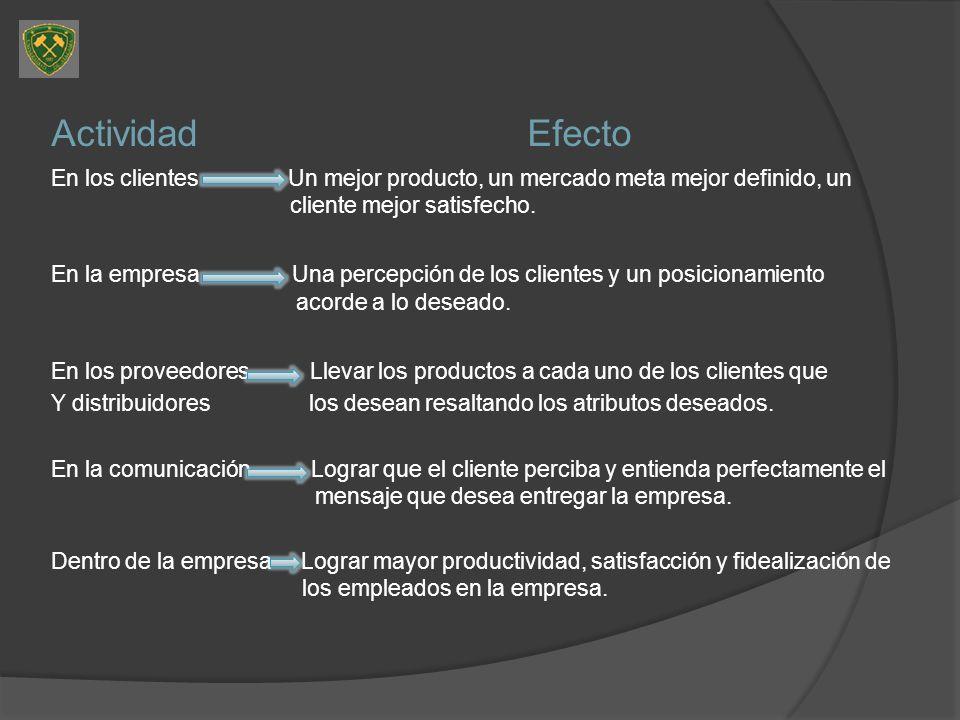 Actividad Efecto En los clientes Un mejor producto, un mercado meta mejor definido, un cliente mejor satisfecho.