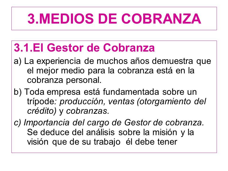 3.MEDIOS DE COBRANZA 3.1.El Gestor de Cobranza
