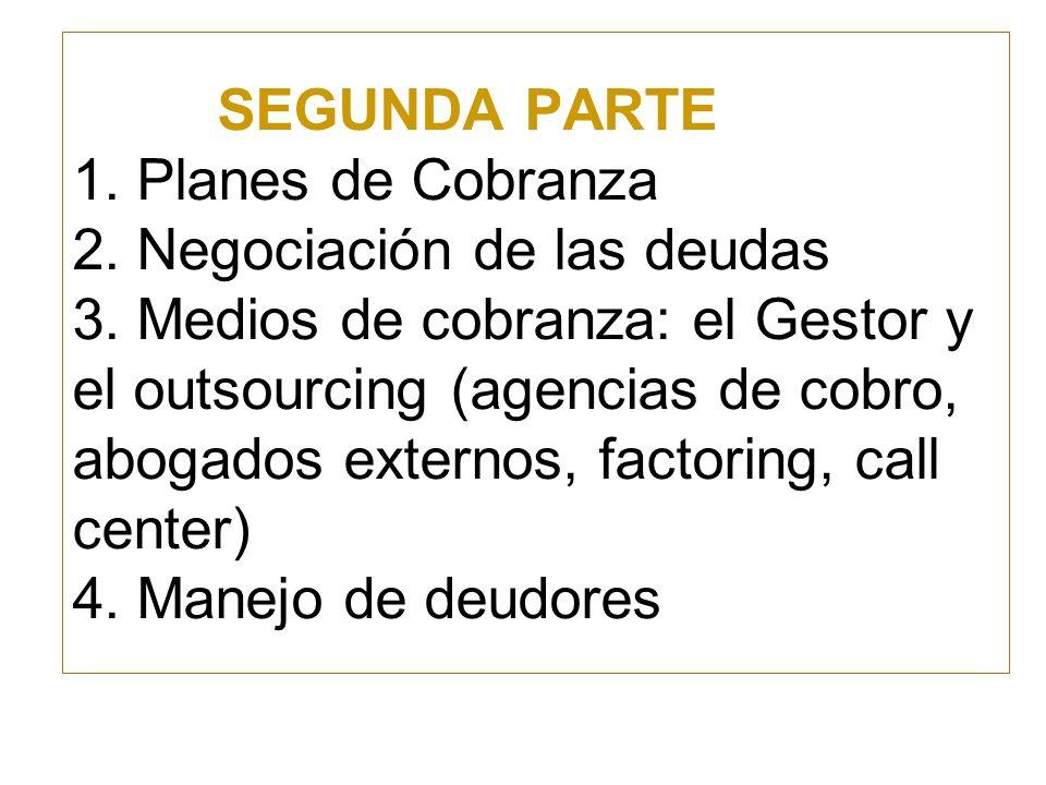SEGUNDA PARTE 1. Planes de Cobranza 2. Negociación de las deudas 3