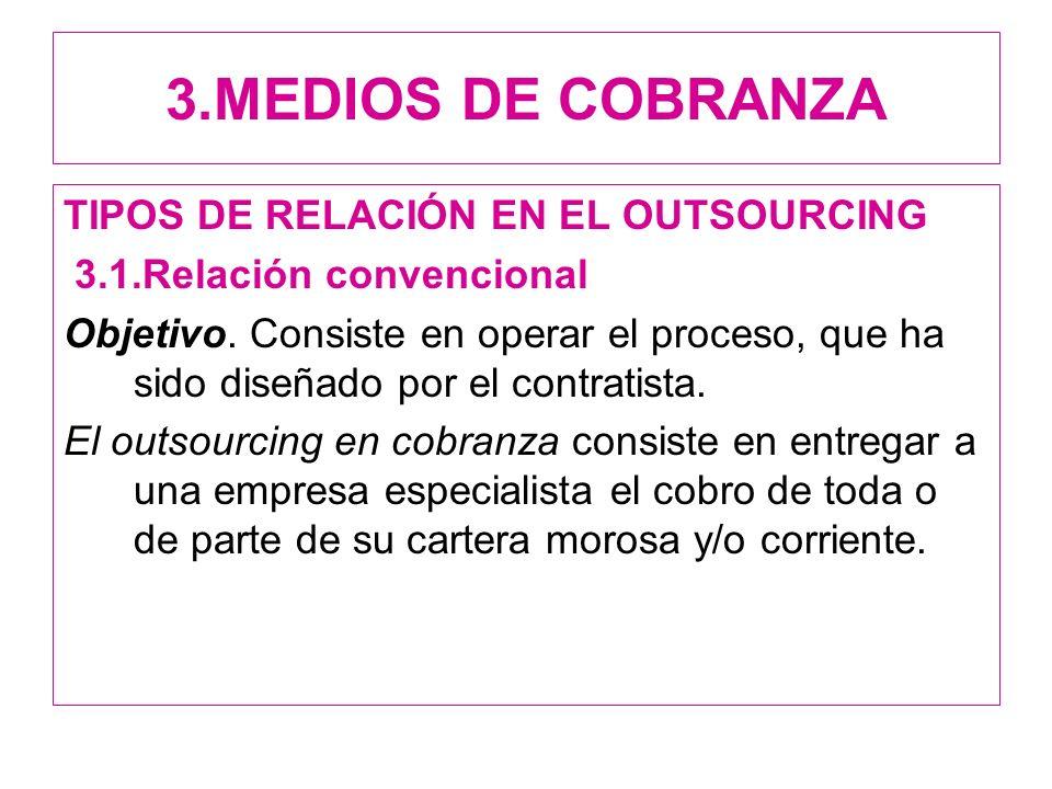 3.MEDIOS DE COBRANZA TIPOS DE RELACIÓN EN EL OUTSOURCING