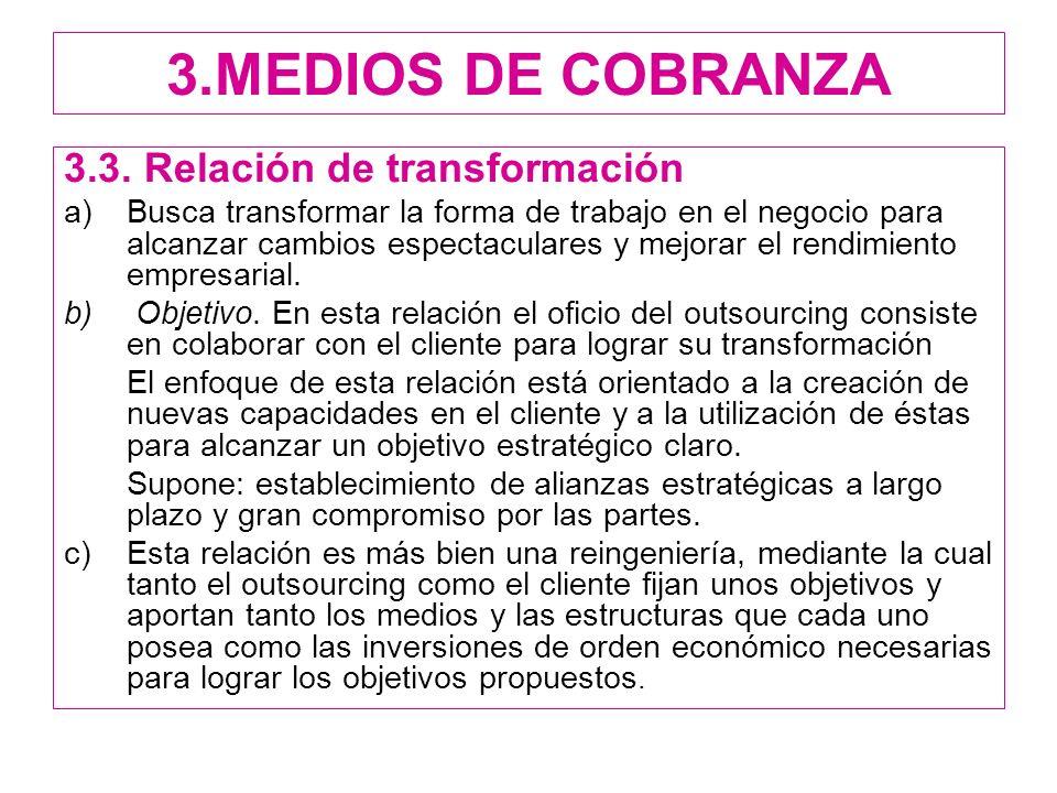 3.MEDIOS DE COBRANZA 3.3. Relación de transformación