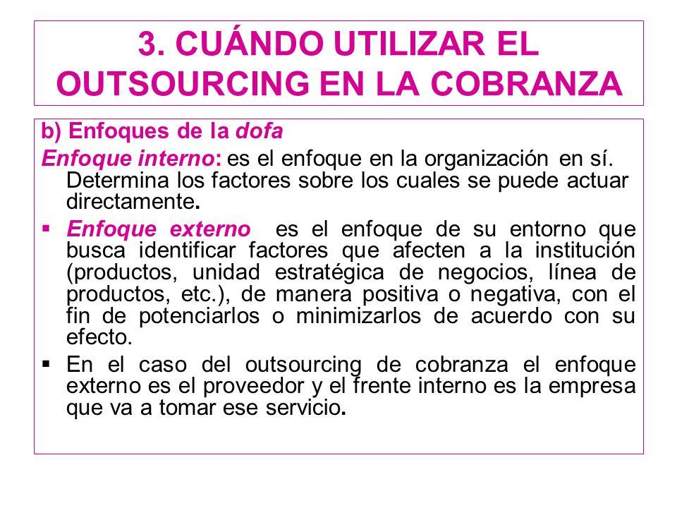 3. CUÁNDO UTILIZAR EL OUTSOURCING EN LA COBRANZA