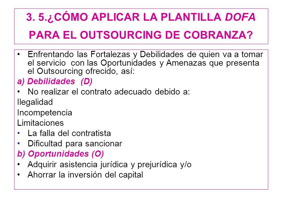3. 5.¿CÓMO APLICAR LA PLANTILLA DOFA PARA EL OUTSOURCING DE COBRANZA