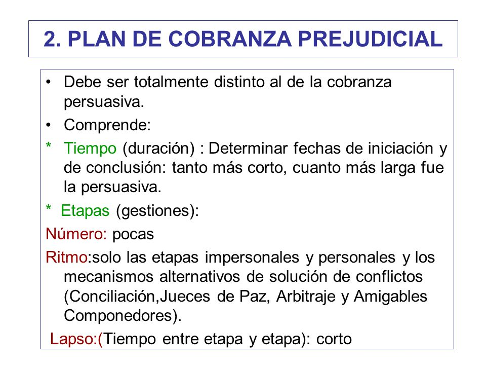 2. PLAN DE COBRANZA PREJUDICIAL