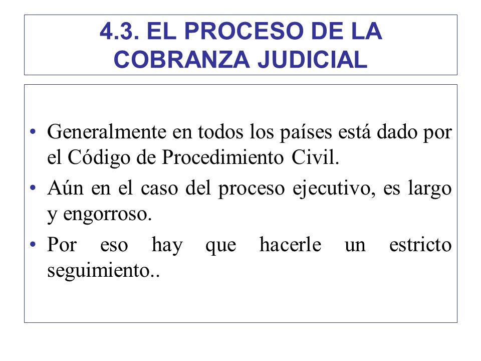 4.3. EL PROCESO DE LA COBRANZA JUDICIAL