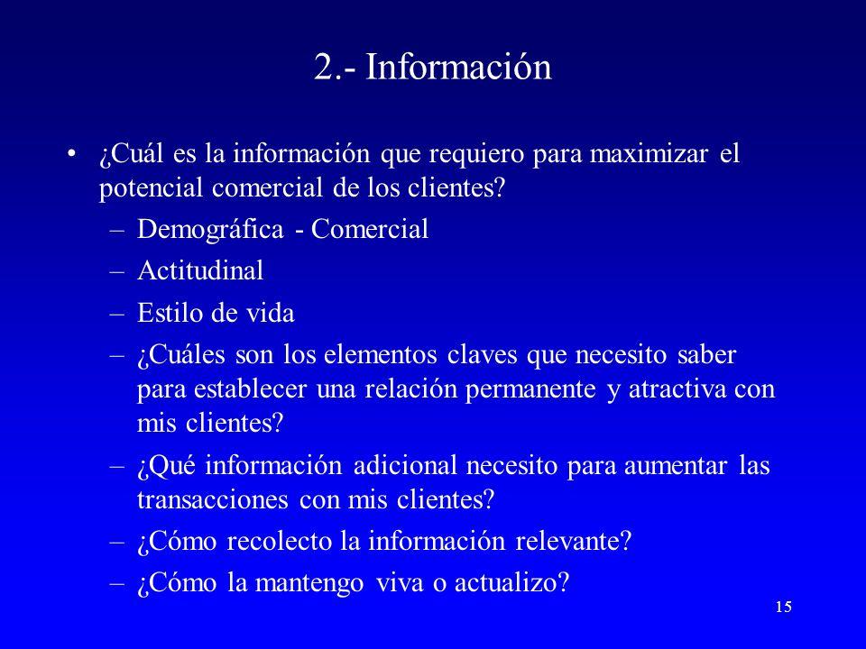 2.- Información ¿Cuál es la información que requiero para maximizar el potencial comercial de los clientes