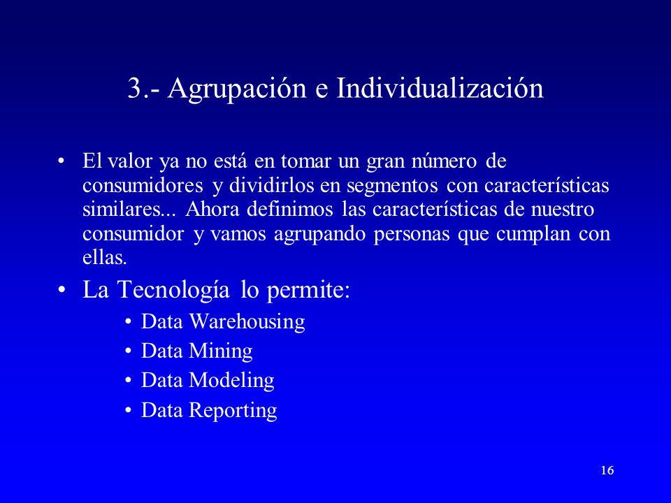3.- Agrupación e Individualización