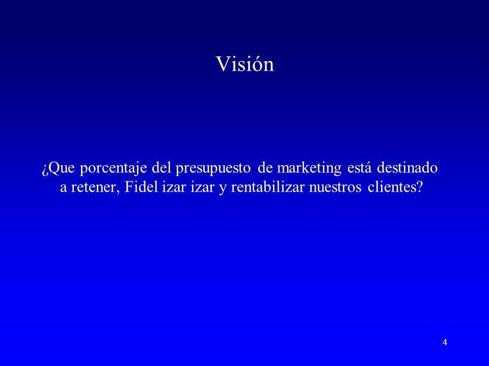 Visión ¿Que porcentaje del presupuesto de marketing está destinado a retener, Fidel izar izar y rentabilizar nuestros clientes