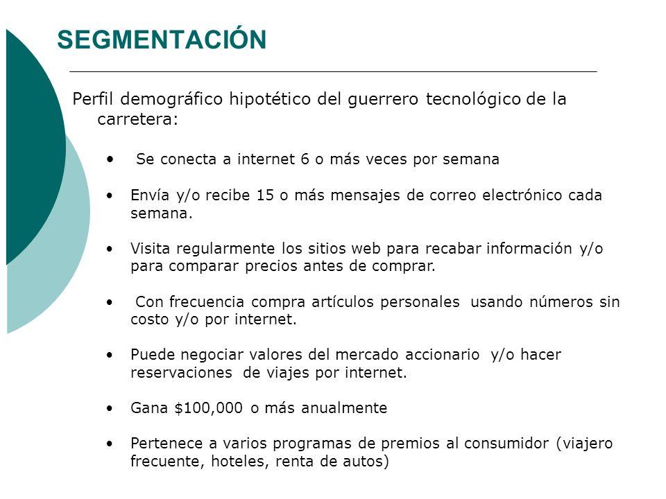 SEGMENTACIÓN Perfil demográfico hipotético del guerrero tecnológico de la carretera: Se conecta a internet 6 o más veces por semana.