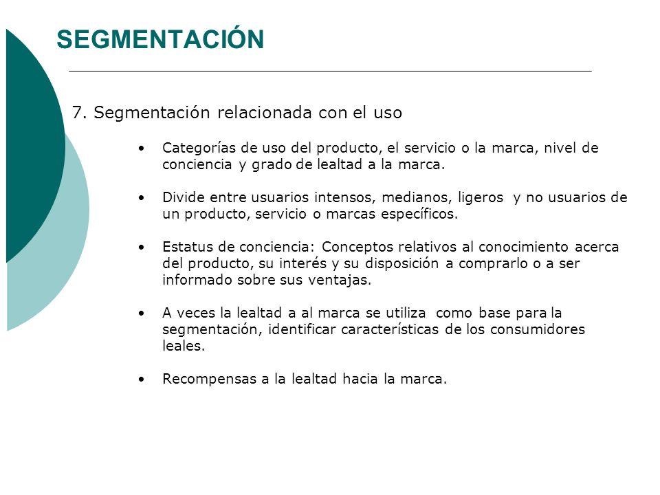 SEGMENTACIÓN 7. Segmentación relacionada con el uso
