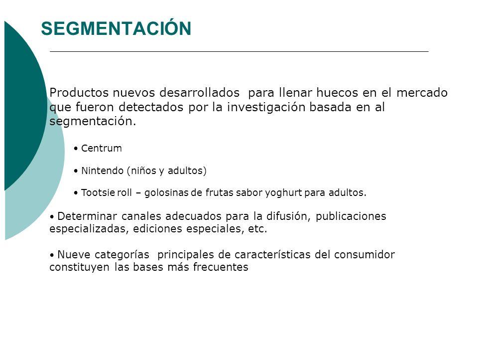 SEGMENTACIÓN Productos nuevos desarrollados para llenar huecos en el mercado que fueron detectados por la investigación basada en al segmentación.