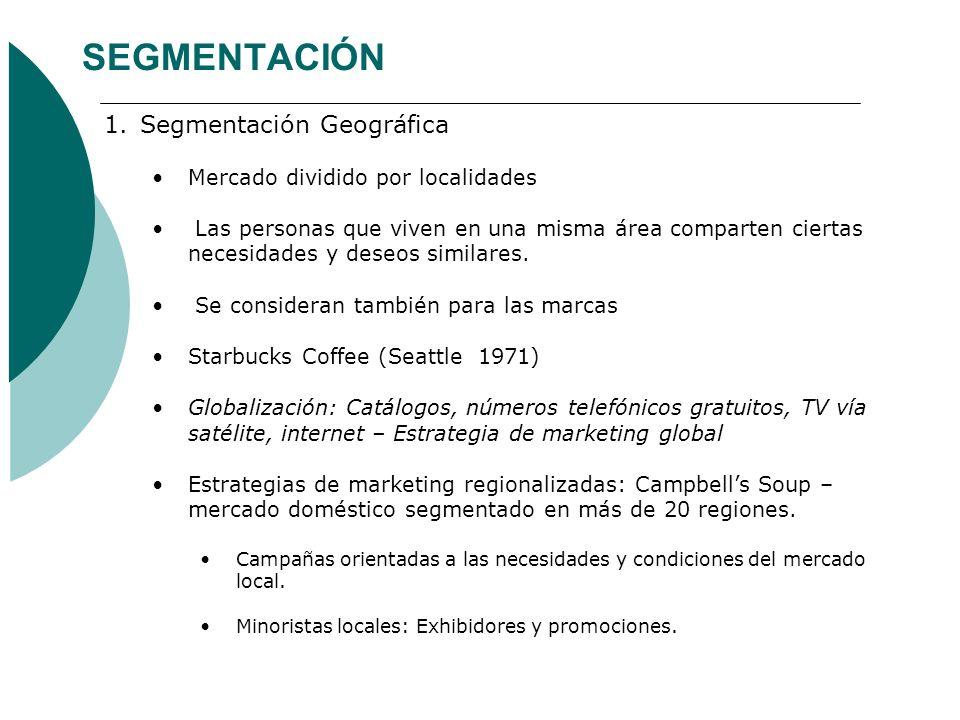 SEGMENTACIÓN Segmentación Geográfica Mercado dividido por localidades