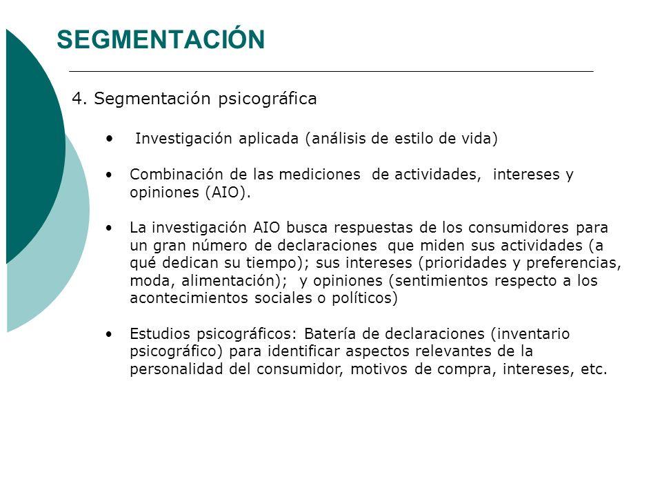 SEGMENTACIÓN 4. Segmentación psicográfica