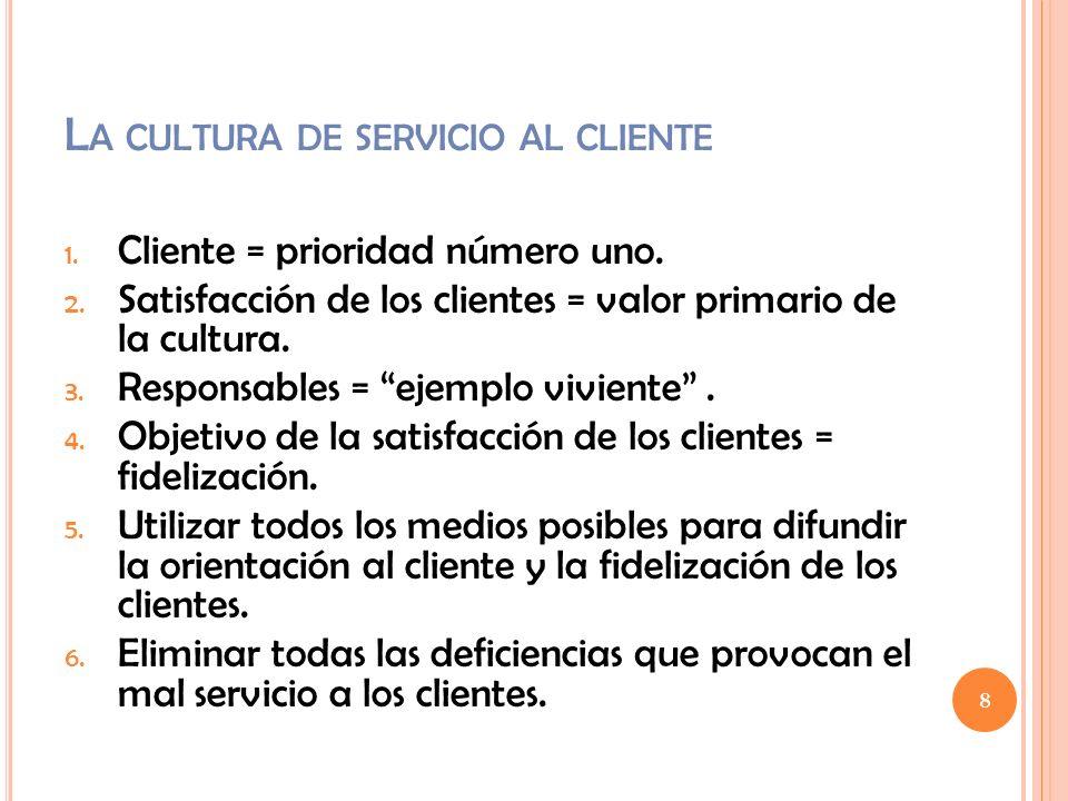 La cultura de servicio al cliente