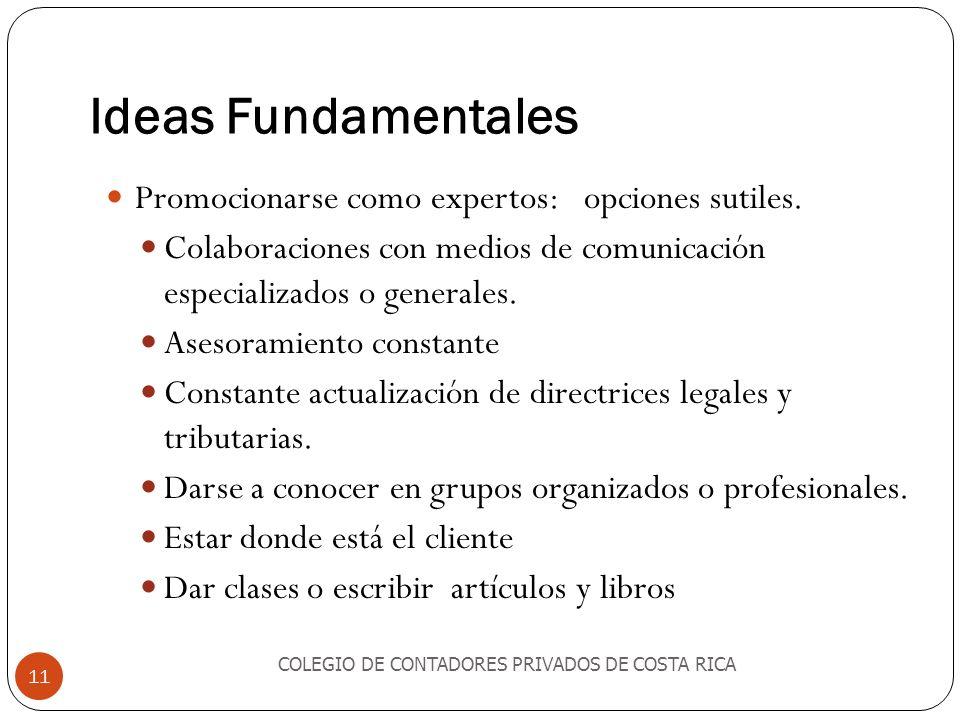 Ideas Fundamentales Promocionarse como expertos: opciones sutiles.
