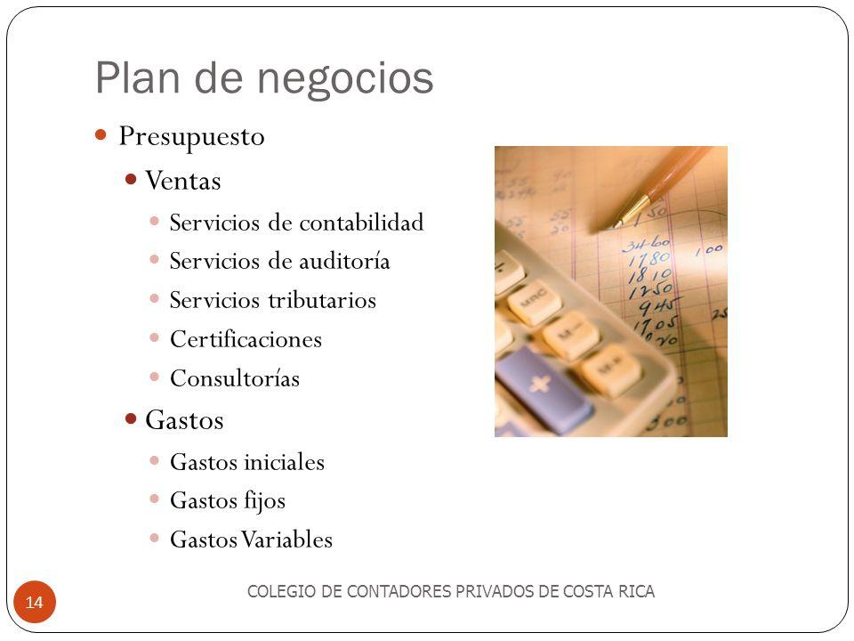Plan de negocios Presupuesto Ventas Gastos Servicios de contabilidad