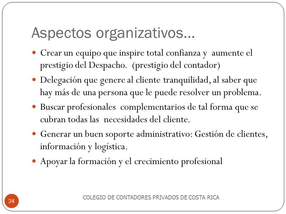 Aspectos organizativos…