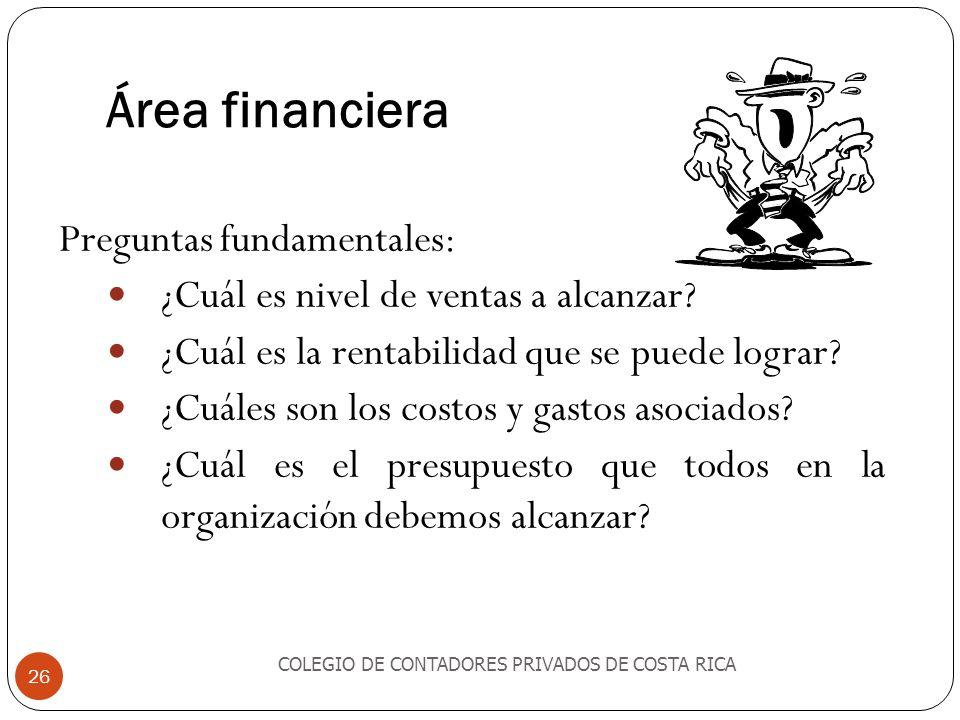 Área financiera Preguntas fundamentales: