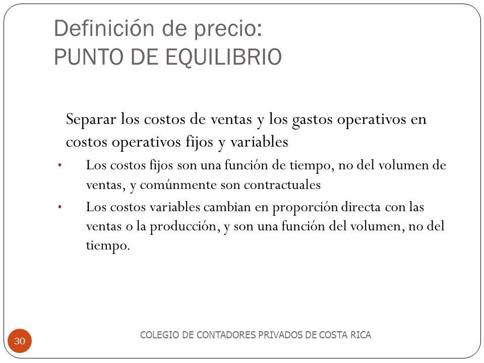 Definición de precio: PUNTO DE EQUILIBRIO