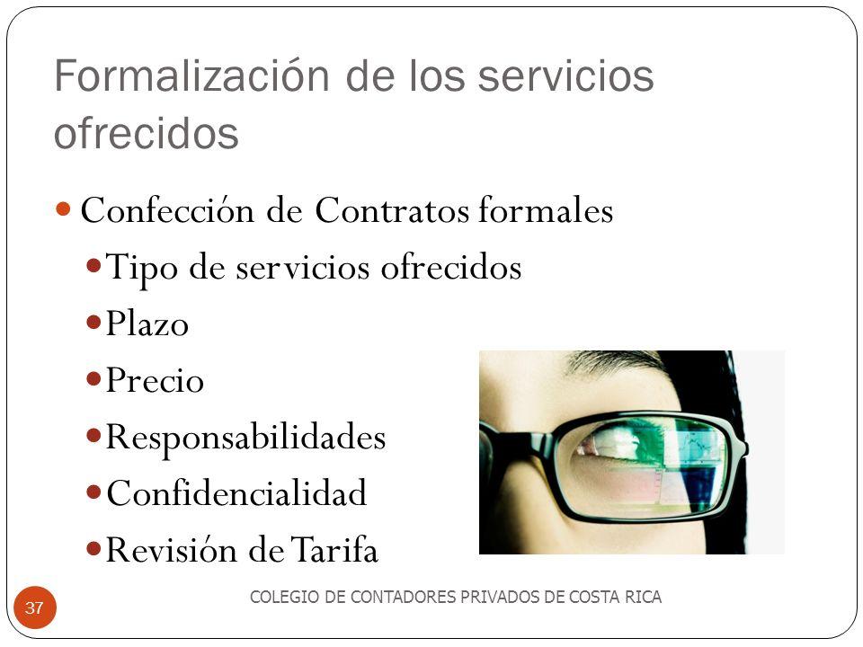 Formalización de los servicios ofrecidos
