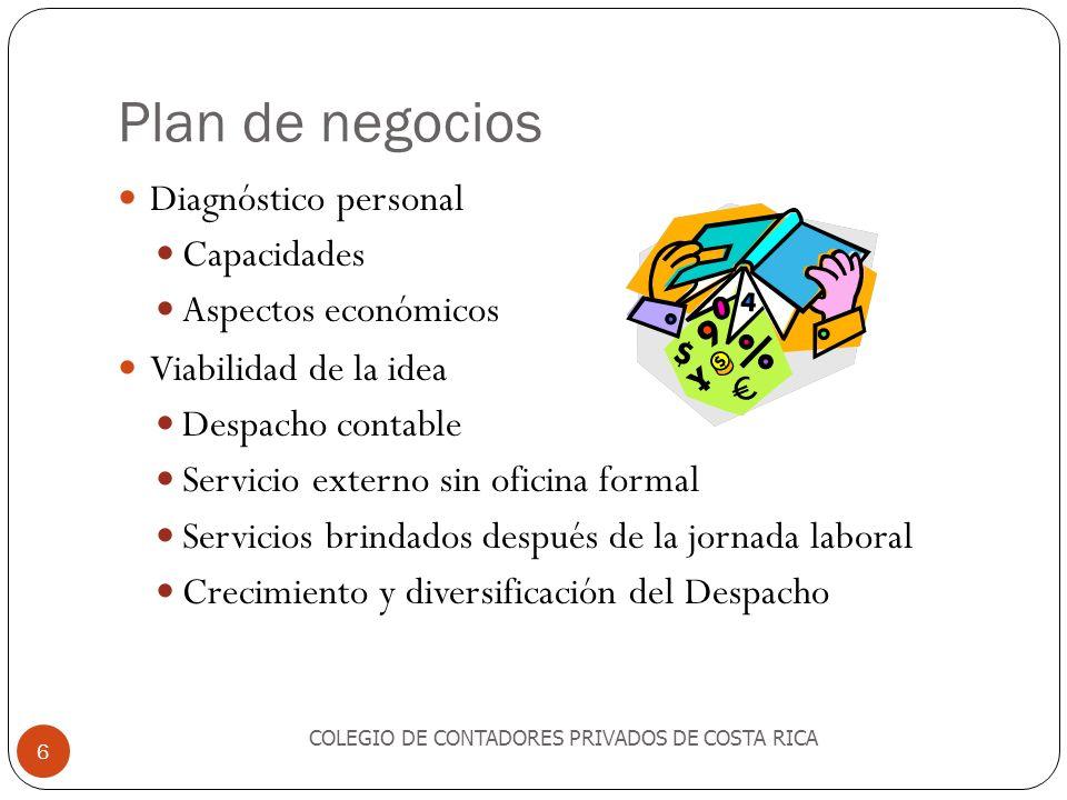 Plan de negocios Diagnóstico personal Capacidades Aspectos económicos