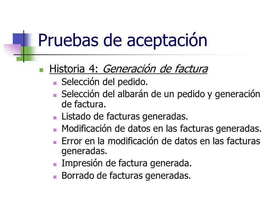 Pruebas de aceptación Historia 4: Generación de factura