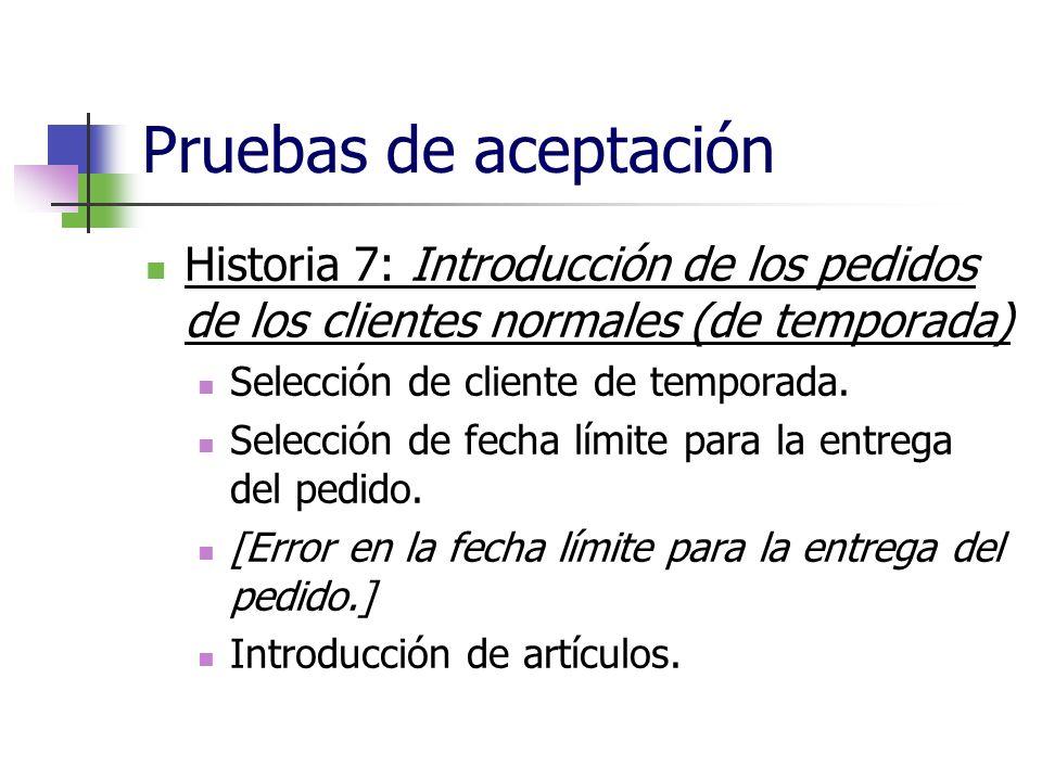 Pruebas de aceptación Historia 7: Introducción de los pedidos de los clientes normales (de temporada)