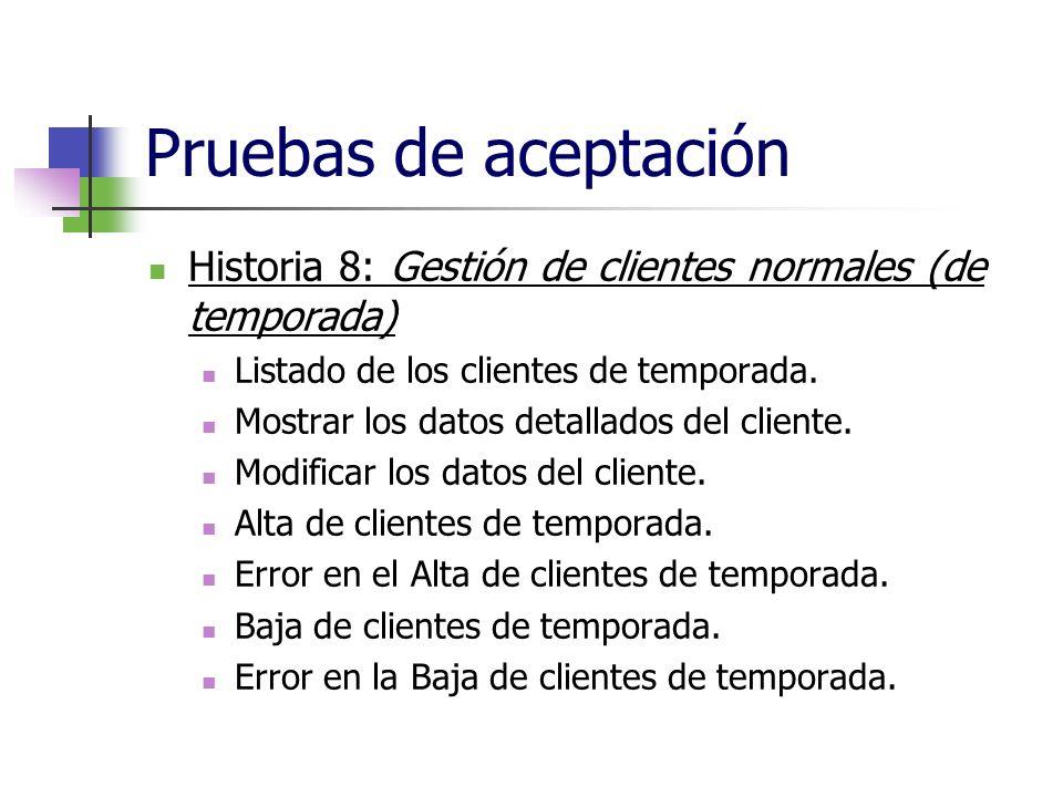 Pruebas de aceptación Historia 8: Gestión de clientes normales (de temporada) Listado de los clientes de temporada.