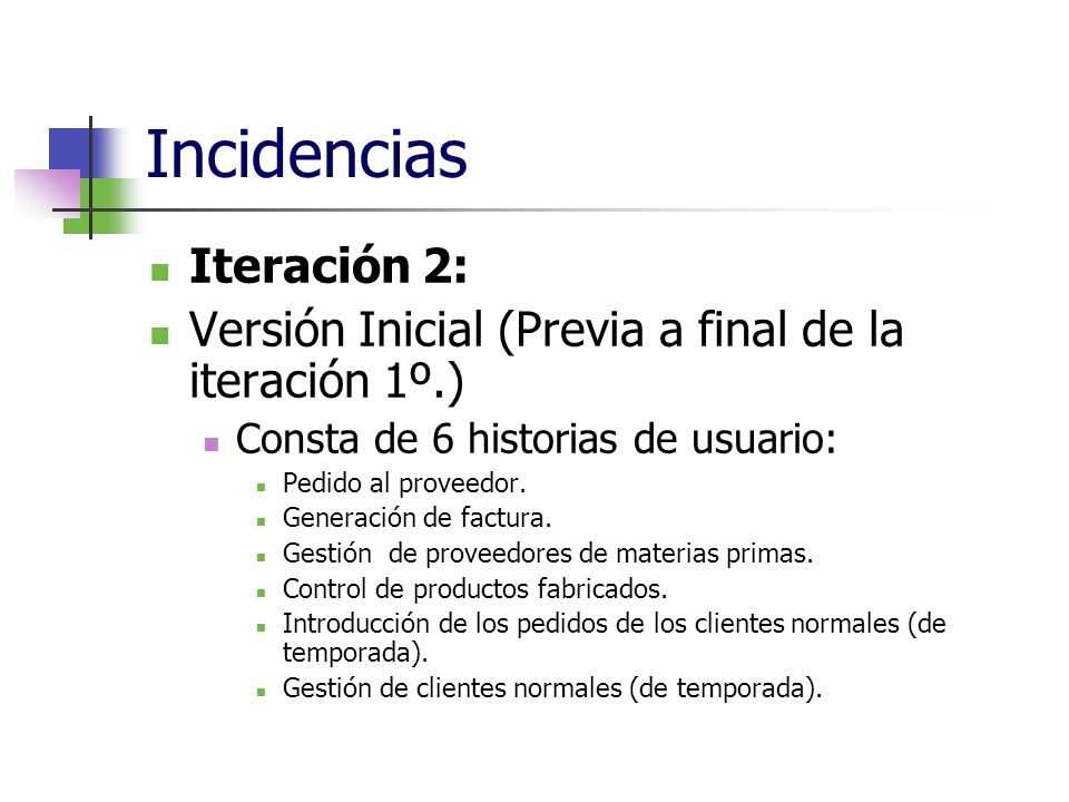 Incidencias Iteración 2: