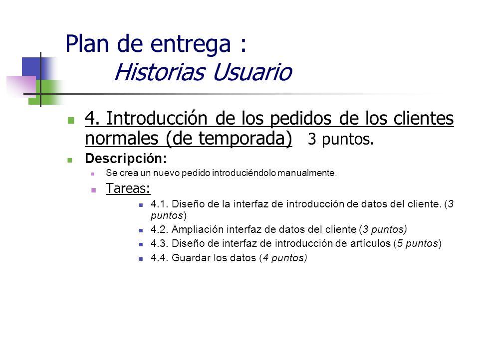 Plan de entrega : Historias Usuario