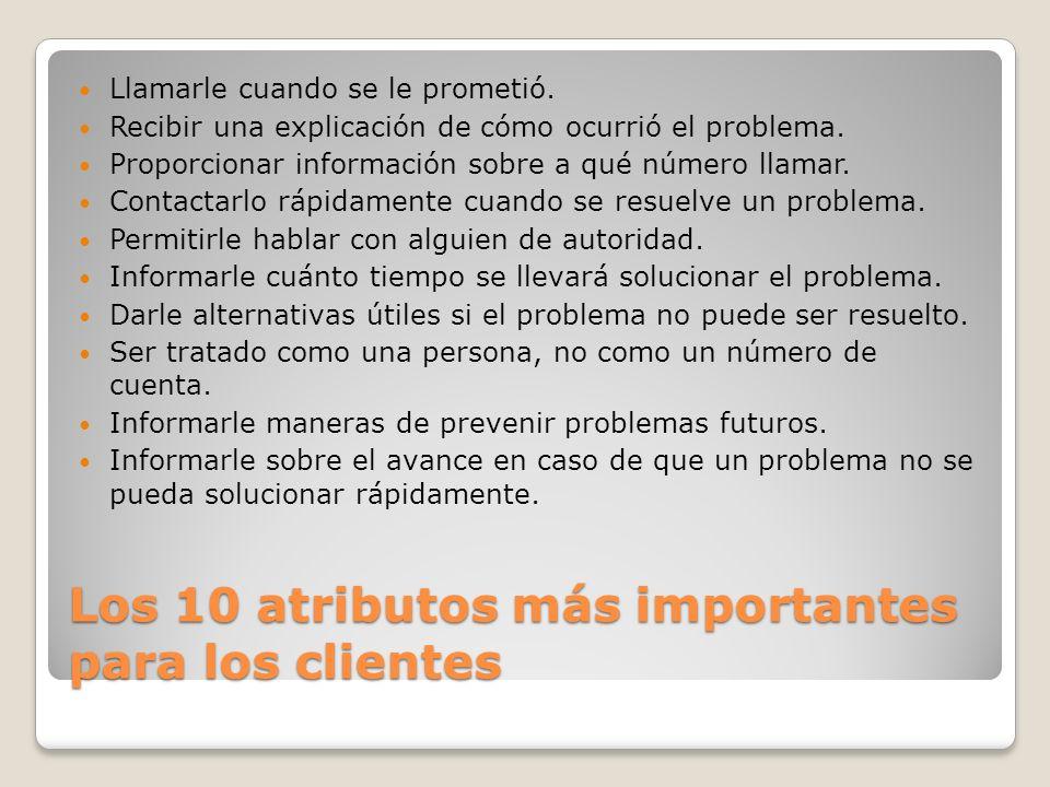 Los 10 atributos más importantes para los clientes