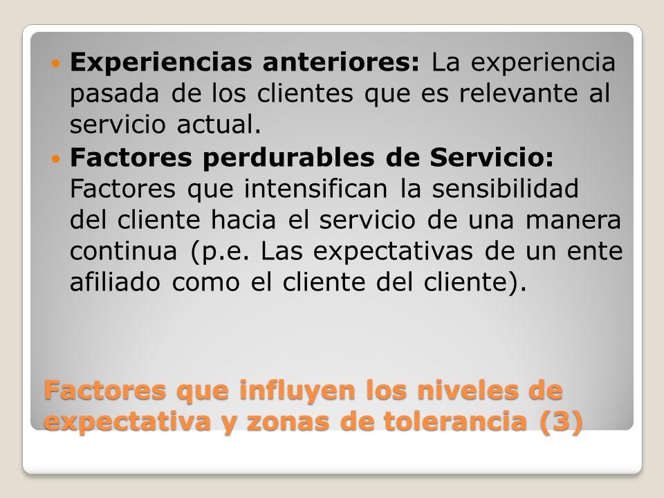 Experiencias anteriores: La experiencia pasada de los clientes que es relevante al servicio actual.
