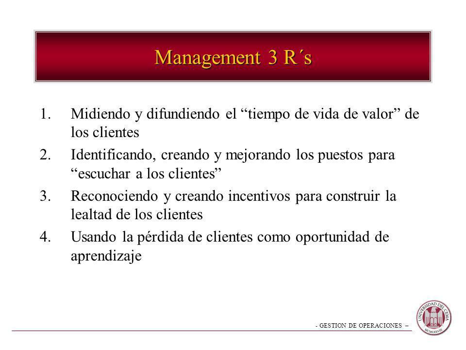 Management 3 R´s Midiendo y difundiendo el tiempo de vida de valor de los clientes.