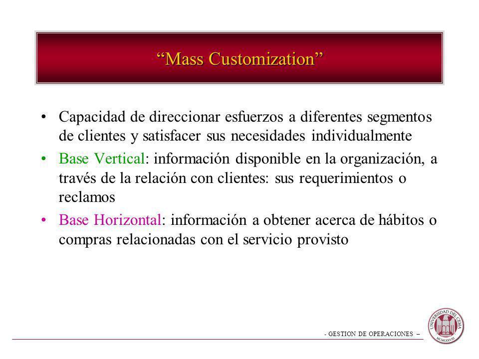 Mass Customization Capacidad de direccionar esfuerzos a diferentes segmentos de clientes y satisfacer sus necesidades individualmente.