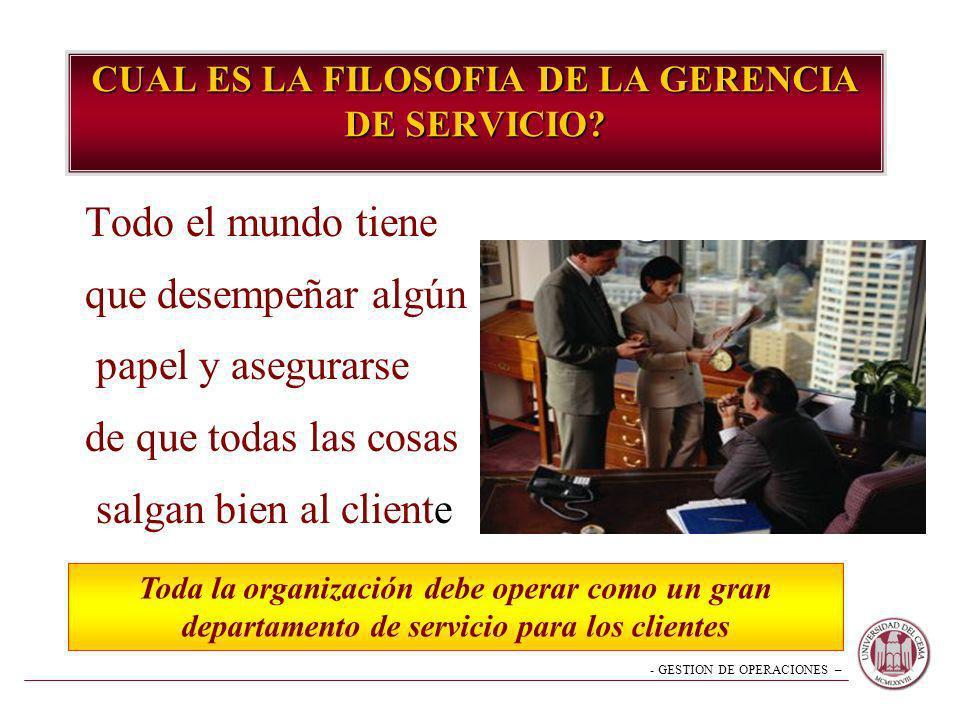 CUAL ES LA FILOSOFIA DE LA GERENCIA DE SERVICIO